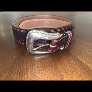 Nocona Mens Cowboy Western Tooled Leather Belt